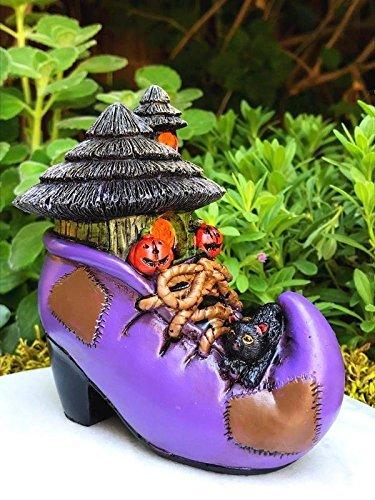 My Fairy Gardens Miniature - Mini HALLOWEEN Purple Boot House w Black Cat - Mini Dollhouse Supply Expressions
