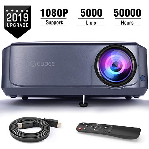 Projector, GuDee Upgrade Full HD Video Projector for Business PowerPoint Presentations, 1080P Home Movie Projector for Laptop, Smartphone, Fire TV Stick, PS4, HDMI, USB