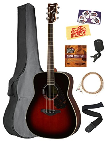 Yamaha FG830 Solid Top Folk Acoustic Guitar – Tobacco Sunburst Bundle with Gig Bag, Tuner, Strings, Strap, Picks, Austin Bazaar Instructional DVD, and Polishing Cloth