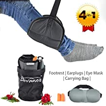 Dovanox Airplane footrest- 4 Piece Travel Accessories - Under Desk Adjustable Portable Foot Hammock - Travel Gift for Men Women - Premium Ergonomic Cushion Relaxes Muscles and Reduces Swollen feet