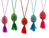 Religious Gifts 5 Assorted Authentic Ukrainian Wooden Easter Eggs Pysanky Ornaments on Cord 2 Inch