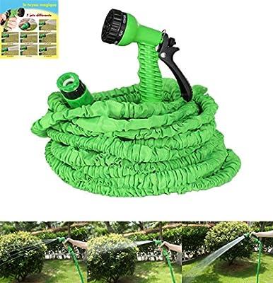 NBD Manguera de Jardín, 25 feet/7m Manguera de Jardín Extensible, Manguera de Riego Retrácti con Boquilla de Pulverización Pistola de Aerosol Multifunción o Limpieza de Coche: Amazon.es: Jardín