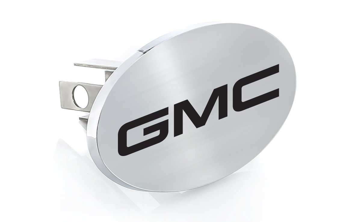 GMC Black Block Letters Emblem Metal Trailer Hitch Cover Plug (1.25 inch post) by GMC