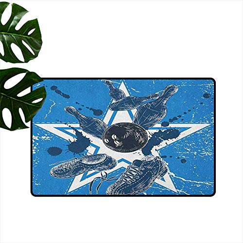 (Bowling Party Interior Door mat Grunge Composition with Star Figure Color Splashes Shoes and Pins Breathability W31 x L47 Blue Black and)