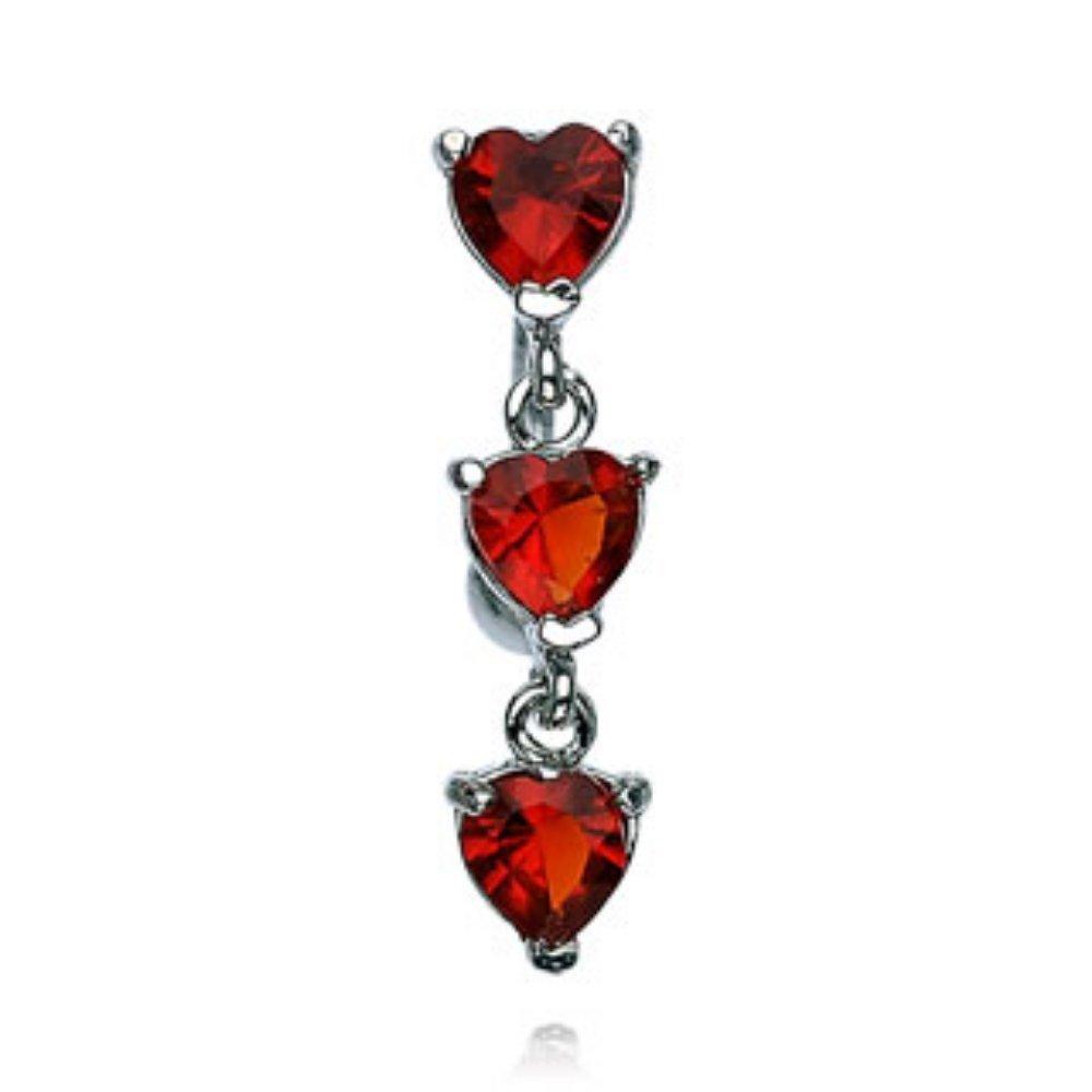 Covet Jewelry Triple Heart CZ Vertical Drop 316L Surgical Steel Reverse Belly Rings