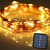 Solar String Lights, Fairy String Lights Copper Wire Starry Lights YIHONG 100 LED 33FT Waterproof LED String Lights For Outdoor Landscape Garden Patio Christmas Wedding