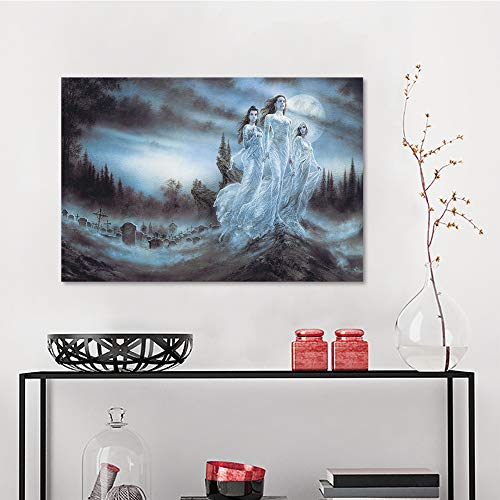 Allbrit Canvas Stretched Artwork, luis royo Night Forests Blood Moon Brides Ghosts Fantasy Art Vampires Spirit Artwork Fangs Cemetery, Bedroom Wall Decor W23.6 x L35.5 Inch]()