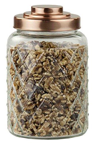 Home Basics Glass Jar with Copper Top, Medium