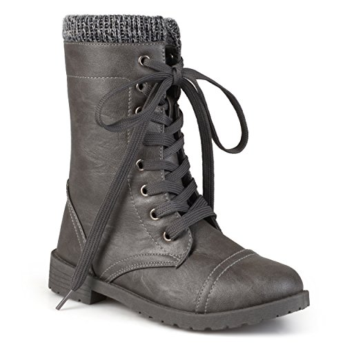 Journee Kid's Ribbed Lace-up Combat Boots