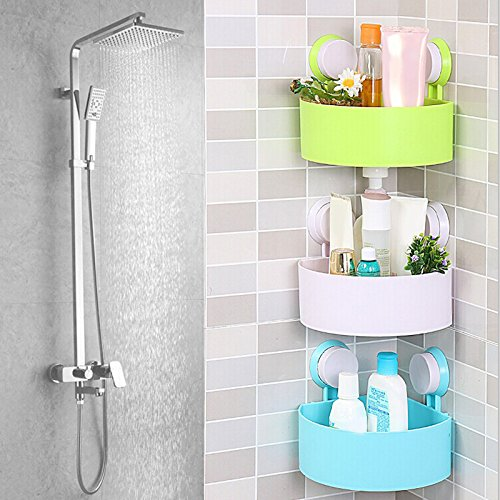 Bathroom Shelf Shampoo Holder Toothpaste Toothbrush Corner Triangle Shelf Double Sucker Storage Rack for Kitchen Bathroom by NAPA Shop