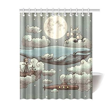 Eco Friendly Ocean Meets Sky Boat Whale Moon Cloud Shower Curtain Waterproof Bathroom Liner