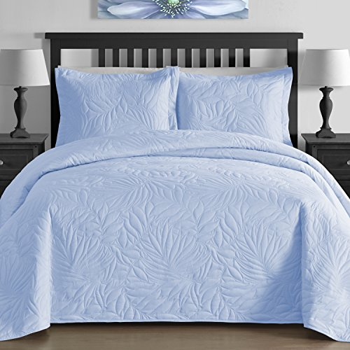 King & Queen Contemporary EXTRA Lightweight Thermal Pressed Bright Leafage Patterned 3 Piece Coverlet Set (Full/Queen, Blue)