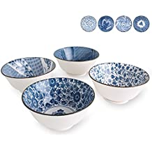 Deep Bowls for Cereal, Soup, Salad, 20-Ounce, Assorted Blue and White Patterns, Set of 4