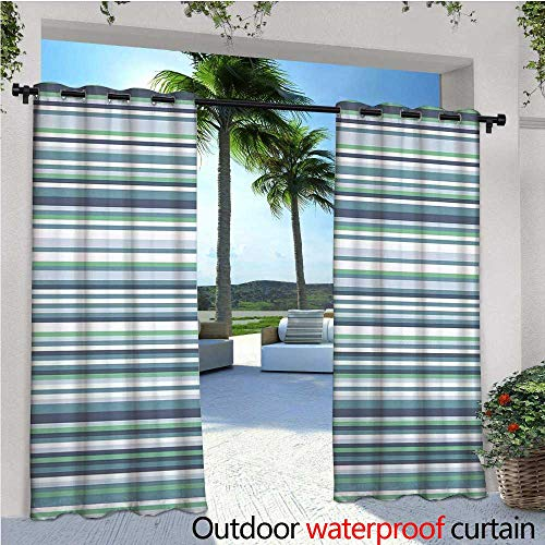 """Striped Outdoor Privacy Curtain for Pergola Abstract Narrow Bands Group of Long Same Bars Vintage Geometric Artwork Image Print Thermal Insulated Water Repellent Drape for Balcony W96"""" x L96"""" Teal Bl"""