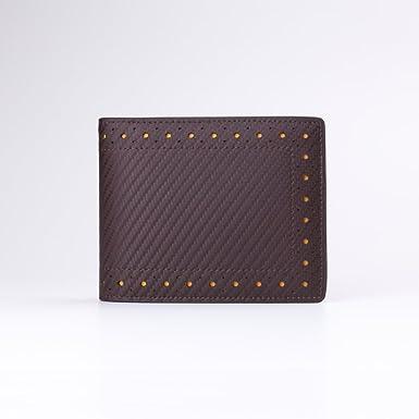 ab72334ad2b9 [ボントラン]BORNTORUN 二つ折り財布 メンズ 財布 サイフ 牛革 イタリア製 カーボンレザー パンチング ショート