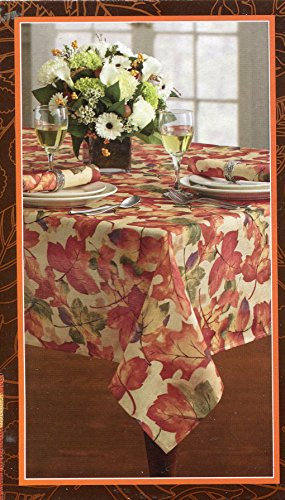 Harvest Festival Autumn Leaves Tablecloth, 60-by-144 Inches - Leaves Tablecloth Autumn