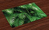 great tropical patio design ideas Lunarable Green Place Mats Set of 4, Tropical Exotic Palm Tree Leaves Branches Botanical Photo Jungle Garden Nature Eco Theme, Washable Fabric Placemats for Dining Room Kitchen Table Decoration, Green
