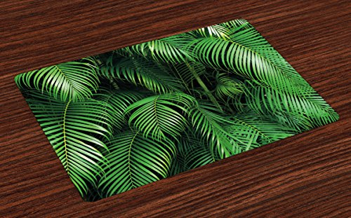 Lunarable Green Place Mats Set of 4, Tropical Exotic Palm Tree Leaves Branches Botanical Photo Jungle Garden Nature Eco Theme, Washable Fabric Placemats for Dining Room Kitchen Table Decoration, Green