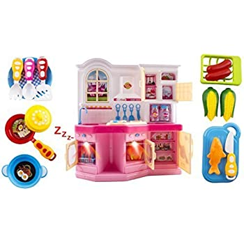 Tiny Chef Toy Kitchen Children's Kid's Toy Kitchen Playset w/ Flashing Lights, Music, Accessories like Real Kitchen