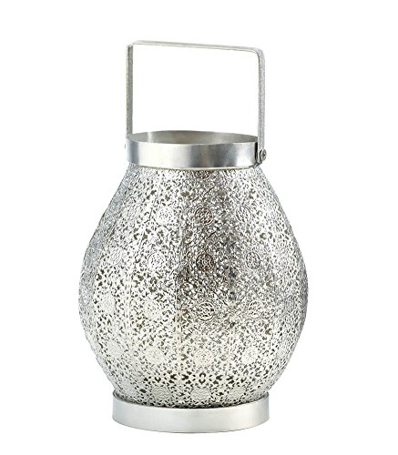Koehler Home Indoor Outdoor Silver Lace Decorative Hanging Candle Lantern by Quotech