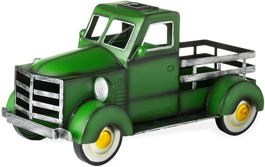 Plow & Hearth Vintage Style Pickup Truck Garden Accent with Solar Headlights, Distressed Metal Finish, Discrete Solar Panel, Colorful Accent Landscape, Planter Truck Bed, 17½