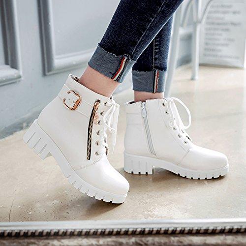 2c7bd362e03c02 ... YE Damen Chunky Heels Ankle Boots Plateau High Heels Stiefeletten mit  Schnürung und Reißverschluss Elegant Modern