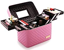 M-Aimee Multifunction Travel Cosmetic Bag with Mirror Portable Train Makeup Case 4 Foldable Makeup Tray for Cosmetics Makeup Brushes Toiletry Jewelry Digital accessories (Pink)