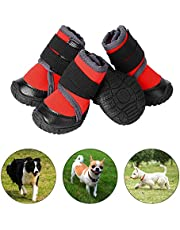 PETLOFT Dog Boots, Slip Resistant 4pcs Dog Puppy Shoes Pet Booties with Adjustable Fastener Strap for Small Medium Large Dogs, Protect Paws Easy to Wear, Not for Rainy Day (S, Red)