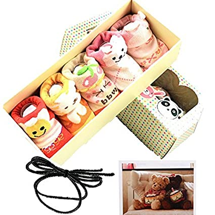 baby gril Hair rope Yaobaby 5pairs Animal Non-Skid Slip Toddler Socks Cotton Unisex Baby Crew Sock 3-18 months With Box Gift Card