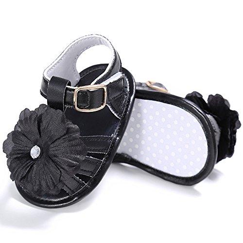 zapatos de Niña de piel sintética con lazo, zapatos Mary Jane, color Blanco, talla 6 - 12 meses negro