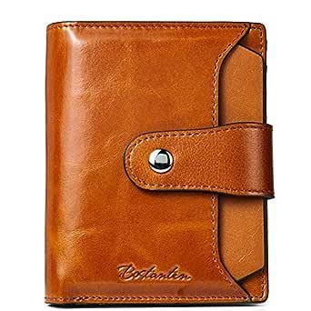 BOSTANTEN Women Leather Wallet RFID Blocking Small Bifold Zipper Pocket Wallet Card Case Purse with ID Window (Brown)