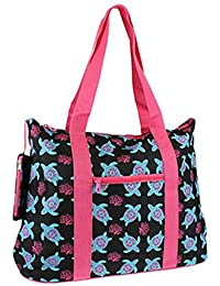 Stylish Roomy Large Turtle Print Tote Bag Pink Blue