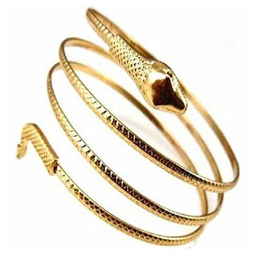 Sanwood Punk Style Metal Snake Armband Bangle Bracelet (Yellow) (Arm Band Jewelry)