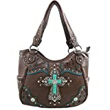 Justin West Tooled Leather Laser Cut Turquoise Rhinestone Cross Concho Studded Shoulder Tote Handbag Purse (Coffee Purse)