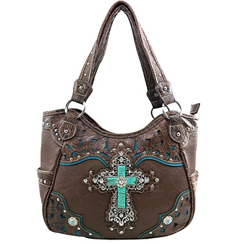 Justin West Tooled Leather Laser Cut Turquoise Rhinestone Cross Concho Studded Shoulder Tote Handbag Purse (Coffee Purse) by Justin West