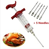 Marinade Injector Flavor Syringe Cook Meat Poultry Turkey Chicken BBQ + 5 Needle Color: Red/Black(Sent by random)