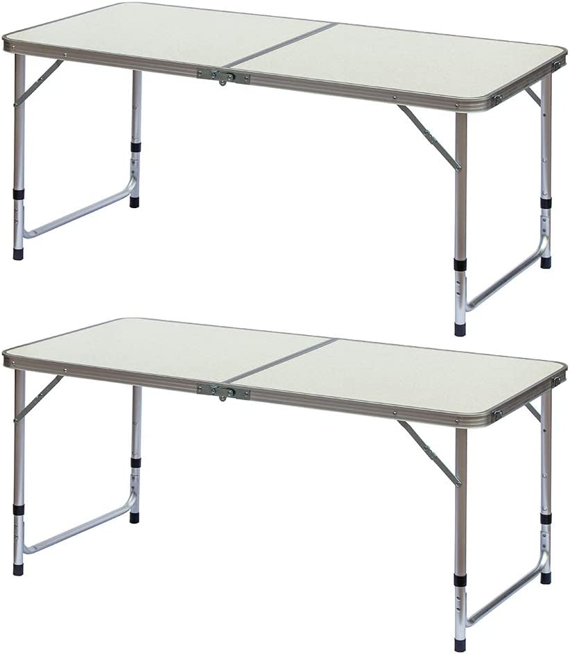 fani 2 Packs Aluminum Folding Table 4 Feet Adjustable Height Lightweight Portable Camping Table for Picnic Beach Outdoor White 47.2 x23.6 x 19//23//27 inch