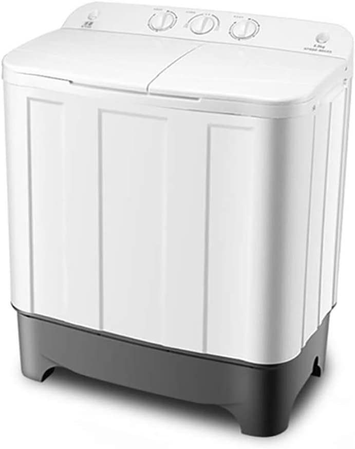 WOAIM Mini Portátil Doble Tina Pequeña Lavadora Lavadora De Deshidratacion Mini Lavadora De Ropa 8.8Kg De Gran Capacidad + 6,0 Kg Capacidad De Secado Lavadora Secadora 75X43x84cm,Blanco