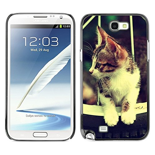 Soft Silicone Rubber Case Hard Cover Protective Accessory Compatible with SAMSUNG GALAXY NOTE 2 & N7100 - Cute Retro Cat Hammok