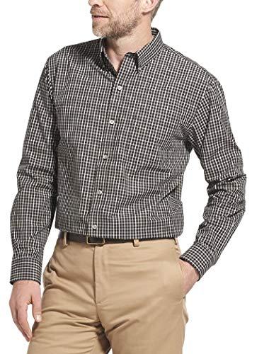 Button Down Long Sleeve Coat - Arrow 1851 Men's Hamilton Poplins Long Sleeve Button Down Plaid Shirt, Black, Medium
