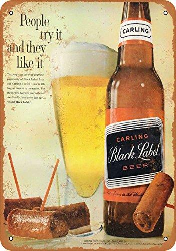 (Wall-Color 7 x 10 METAL SIGN - 1961 Carling Black Label Beer - Vintage Look Reproduction)