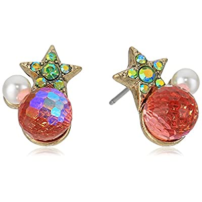 Betsey Johnson Womens Pink and Gold Star Cluster Earrings for sale