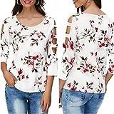 Womens T-Shirt,Fashion Print O-Neck Casual Shirt Hollow Out Blouse Tops