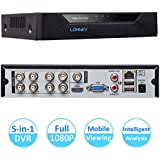 LONNKY 8CH Full HD 1080P 5-in-1 Hybrid DVR Intelligent Security System (Support TVI AHD CVI IP 960H Camera Input), Face Detection/Motion Detection Alarm, Smartphone Remote Viewing, NO HDD