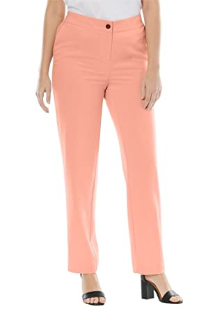 adf0347496102 Jessica London Women s Plus Size Straight Leg Bi-Stretch Pants - Soft  Peach