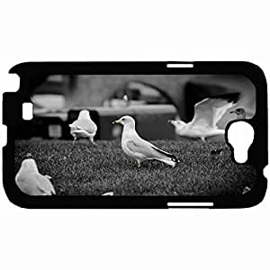 Customized Back Cover Case For Samsung Galaxy Note 2 Hardshell Case, Black Back Cover Design Bird Personalized Unique Case For Samsung Note 2