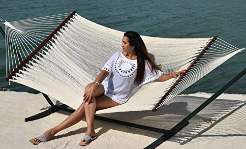 - Caribbean Hammocks - Island Oasis and Stand Set (Green Stand and Cream Hammock)