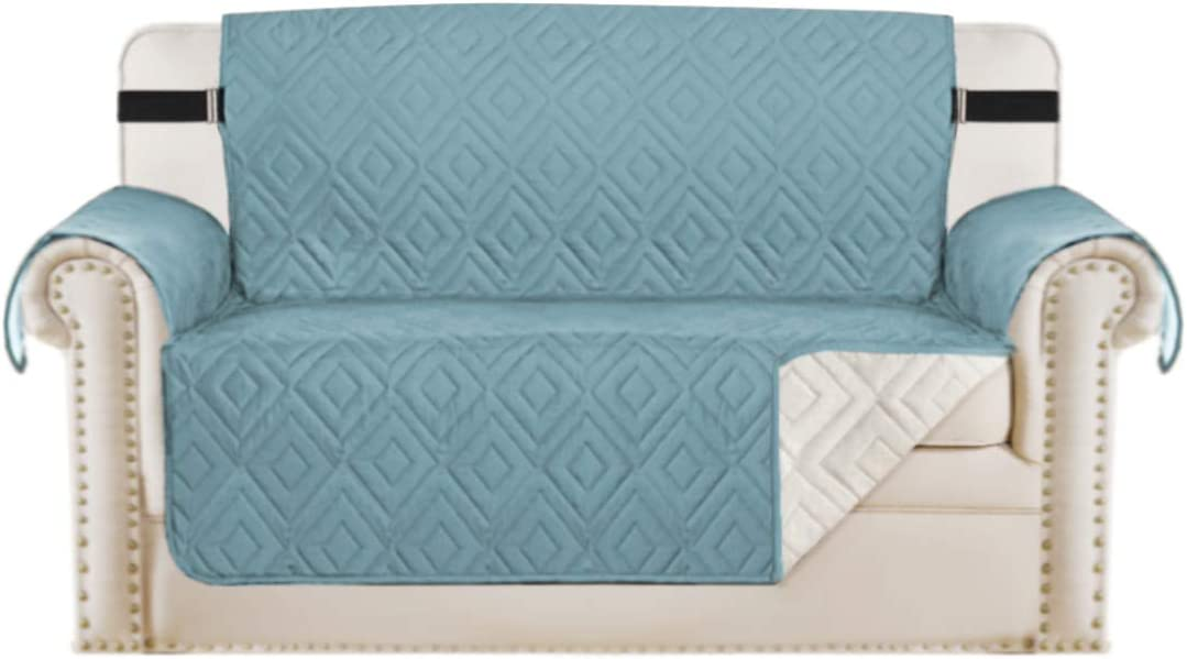 "Reversible Loveseat Cover Furniture Protector Anti-Slip Water Resistant 2 Inch Wide Elastic Straps Couch Covers Pets Kids Fit Sitting Width Up to 54""(Oversized Loveseat, Stone Blue/Beige)"