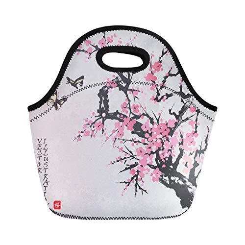 Sakura Spring - Semtomn Lunch Bags Spring Sakura Cherry Blossom Butterflies in Traditional Japanese Sumi Neoprene Lunch Bag Lunchbox Tote Bag Portable Picnic Bag Cooler Bag