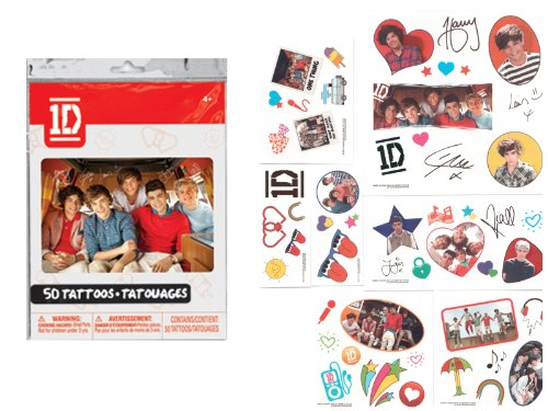 1D ONE DIRECTION Removable TEMPORARY Non-Toxic TATTOOS (25 Count) -